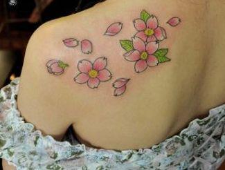 纹身图案 肩膀清新小樱花纹身 > 浪漫清新小樱花纹身图案  浪漫清新小