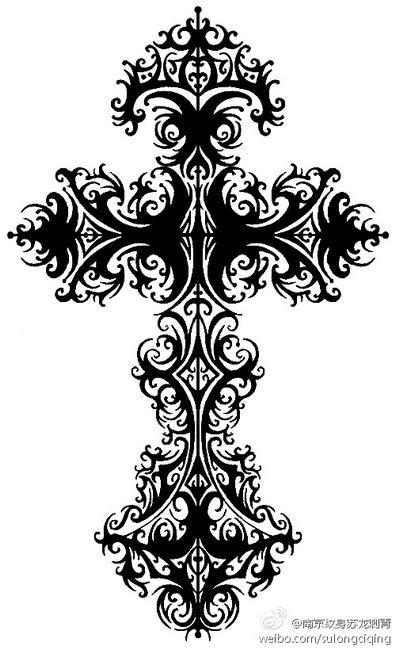 一款精致精美的图腾十字架纹身图案