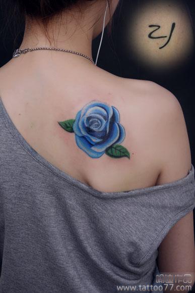武汉专业纹身店:遮盖旧图--后背玫瑰纹身图案作品