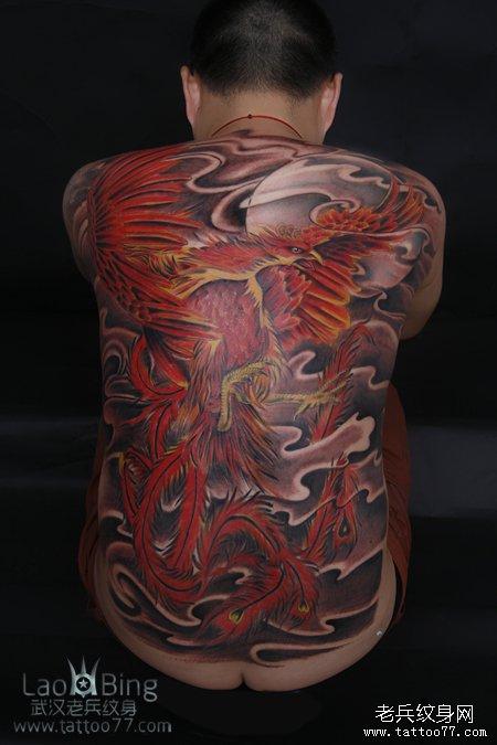 武汉专业纹身店:霸气的满背朱雀纹身图案作品