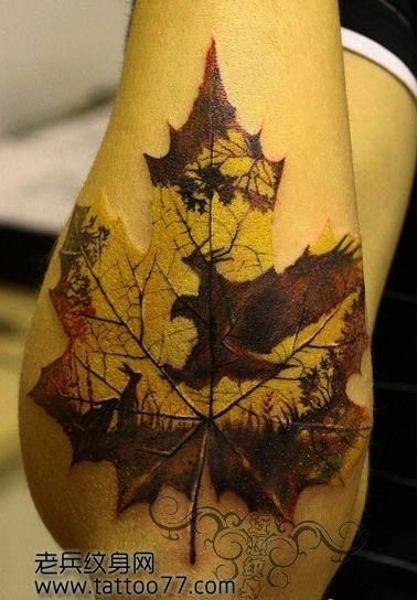 手臂一款另类的枫叶纹身图案