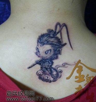 背部一款卡通版齐天大圣孙悟空纹身图案