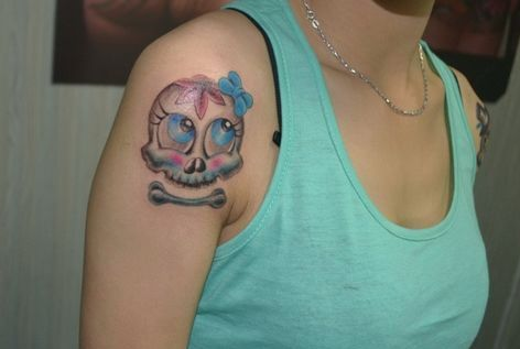 可爱的小骷髅纹身; 老兵武汉纹身店; 女生刚破了处的图片