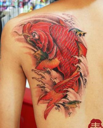 色鲤鱼纹身图案