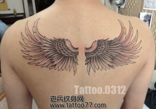 男生背部简单好看的翅膀纹身图案