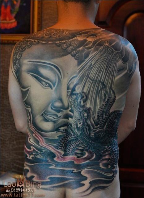 老兵作品:纹身遮盖胎记满背佛头纹身图案作品展示图片