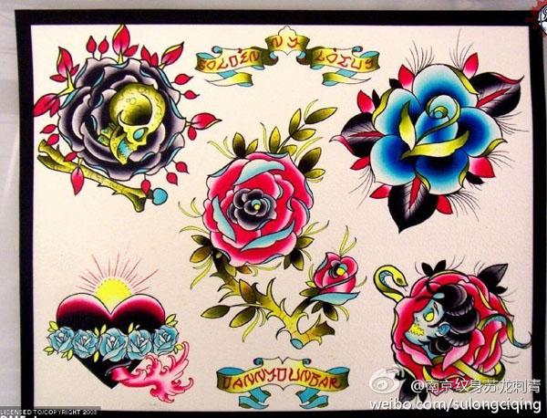 玫瑰花图腾纹身手稿_玫瑰花图腾纹身手稿分享展示