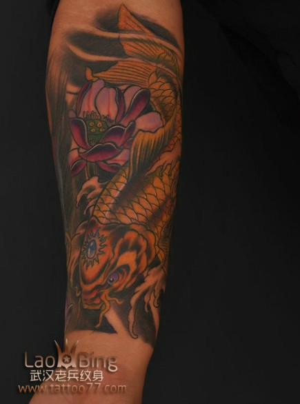 武汉专业纹身店:修改旧图--包小臂般若鲤鱼莲花纹身图案作品