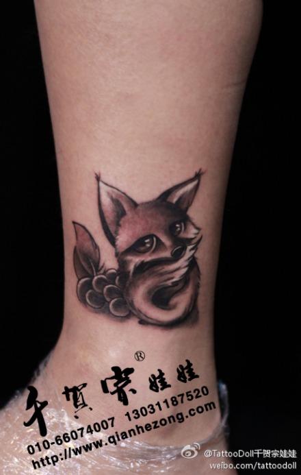 女生白色狐狸纹身图案_装修图库