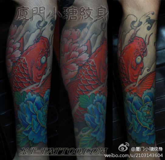 鲤鱼牡丹纹身图案