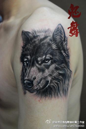 男人手臂经典的黑白狼头纹身图案