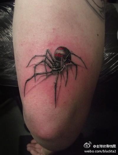 男生手臂经典的小蜘蛛纹身图案