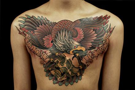 鹰骷髅纹身图案