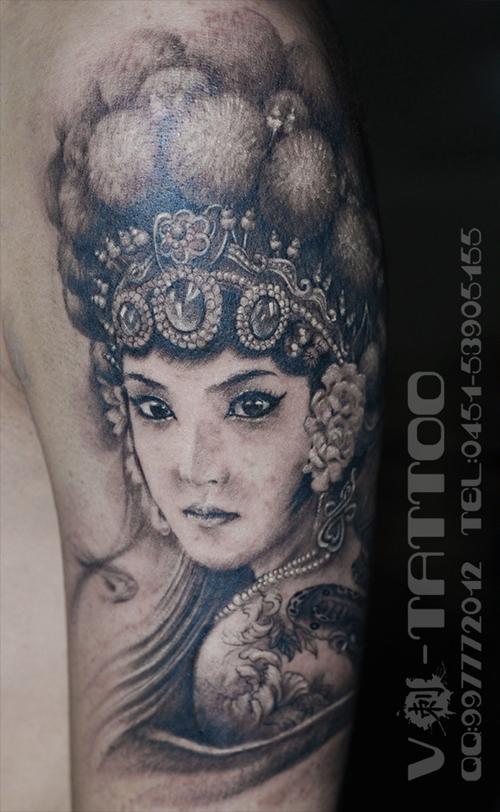 男生手臂漂亮的美女花旦纹身图案图片