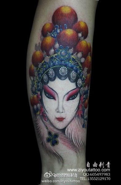 腿部时尚漂亮的美女花旦纹身图案