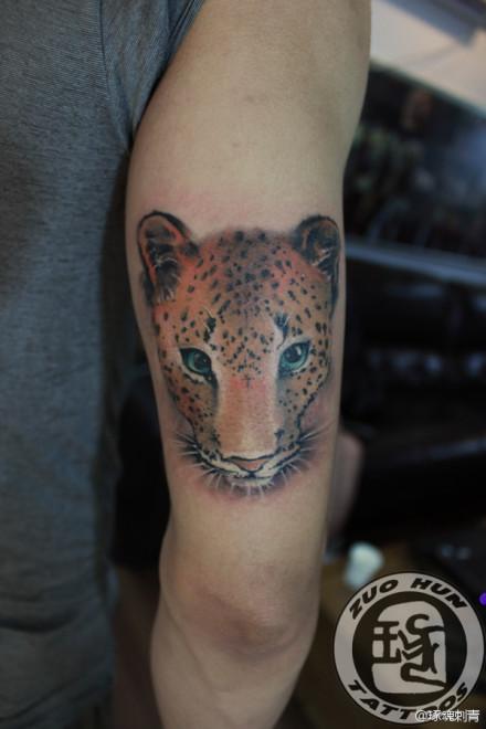 手臂好看经典的豹子纹身图案