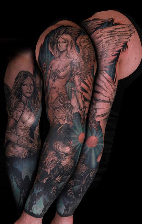 手臂漂亮的美女天使翅膀纹身图案