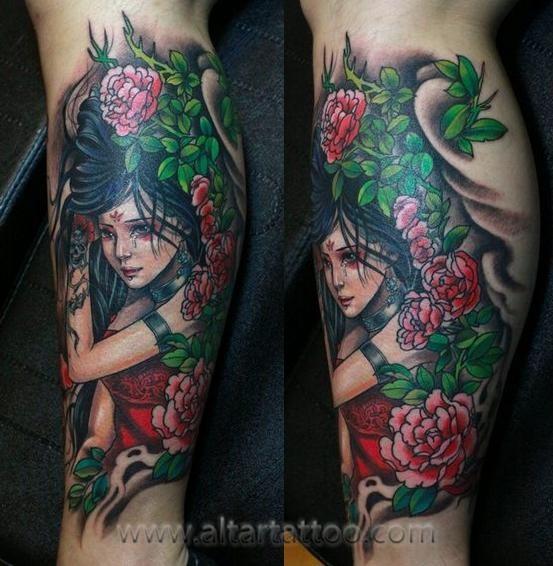 腿部纹身图案