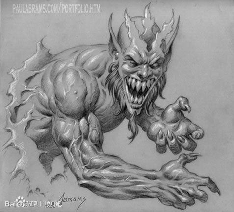一款帅气超酷的恶魔纹身手稿
