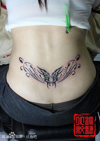 腾蝴蝶腰花纹身图案