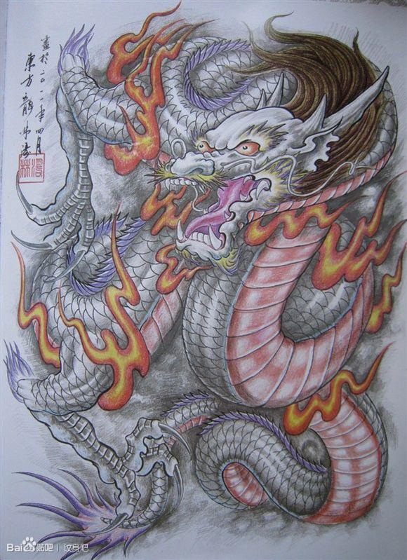 一款男人喜欢的满背龙纹身手稿