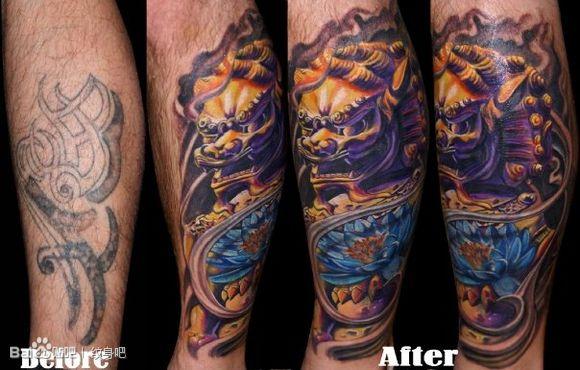 彩色石狮子纹身图案