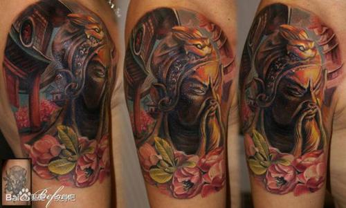 手臂经典帅气的彩色关公纹身图案