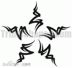 一款流行精美的图腾五角星纹身图案
