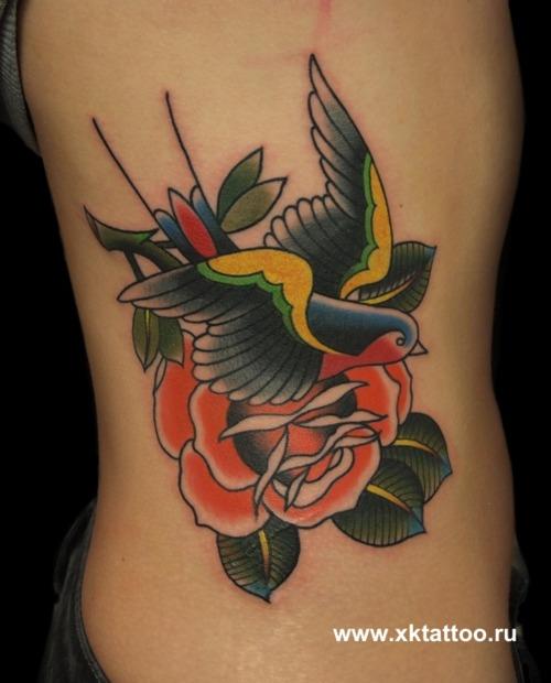 女生腰部唯美的小燕子与玫瑰花纹身图案