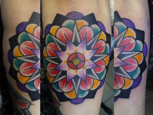男生手臂唯美时尚的欧美花卉纹身图案