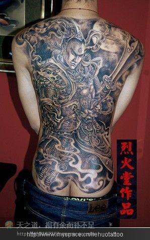 男生满背超酷的满背二郎神纹身图案图片