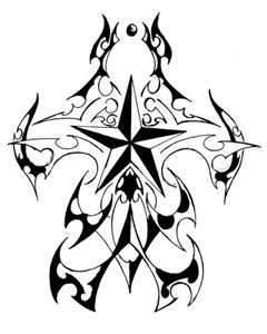 一款适合纹满背的图腾五芒星纹身图案