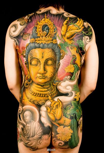 男人背部超酷的满背观音纹身图案图片