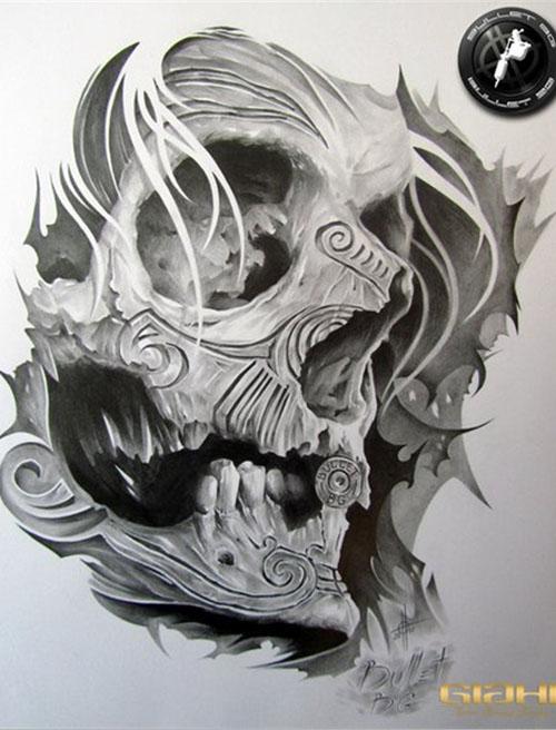 美骷髅纹身手稿