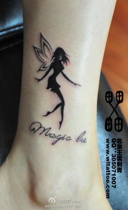 女生腿部时尚好看的小天使纹身图案