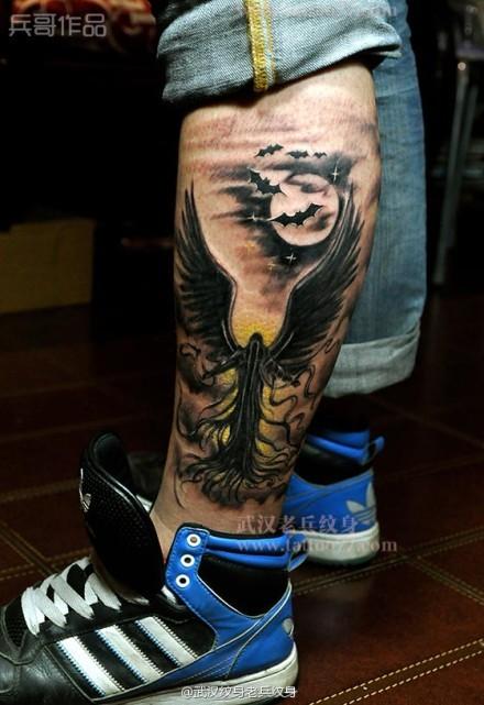 小腿死神纹身由武汉最好纹身店老兵出品