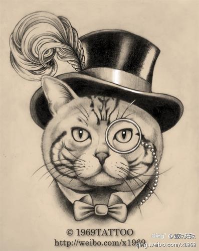 一款时尚流行的猫咪纹身手稿