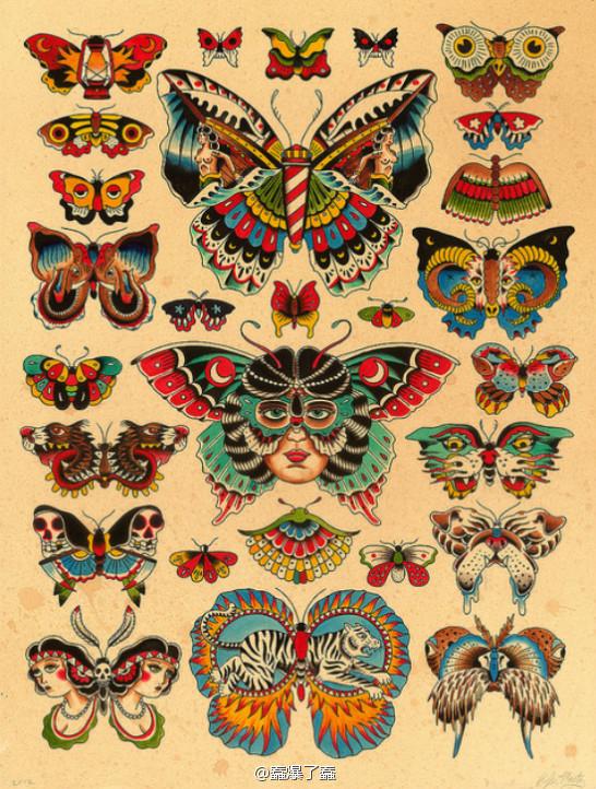 一款时尚漂亮的old school蝴蝶纹身图案图片