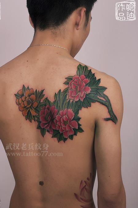 后背传统牡丹纹身由武汉最好纹身店出品