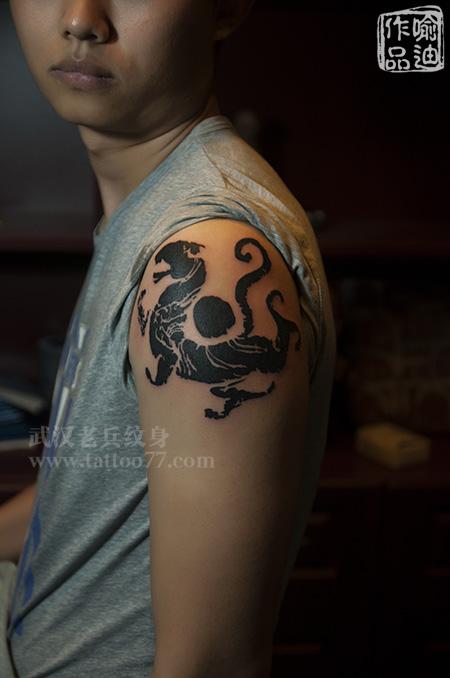 帅气的土家族标志,四神兽白虎纹身,由武汉最好纹身店图片