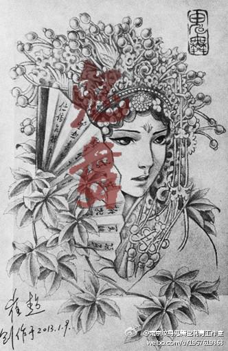 漂亮时尚的美女花旦纹身手稿