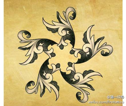 一款漂亮时尚的五角星纹身手稿