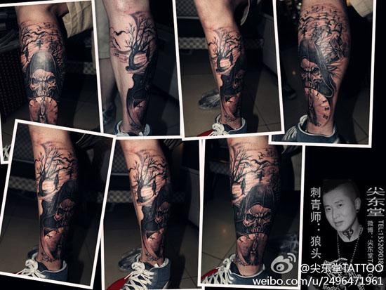 腿部很酷潮流的死神纹身图案