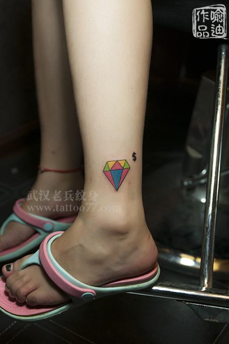 小清新彩色钻石纹身图案作品及意义;;