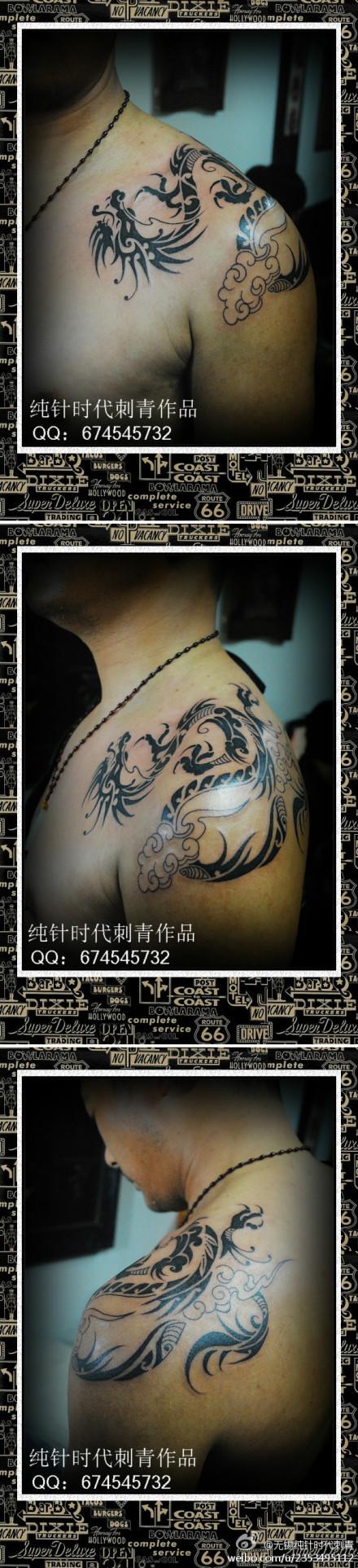 超帅的过肩图腾龙纹身图案图片