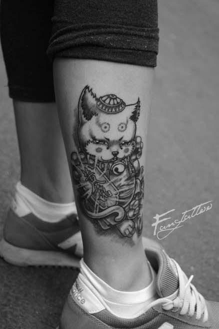 款招财猫纹身图案图片
