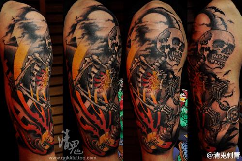 手臂潮流经典的骷髅纹身图案图片
