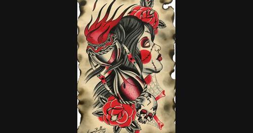 一款漂亮时尚的school风格美女纹身图案