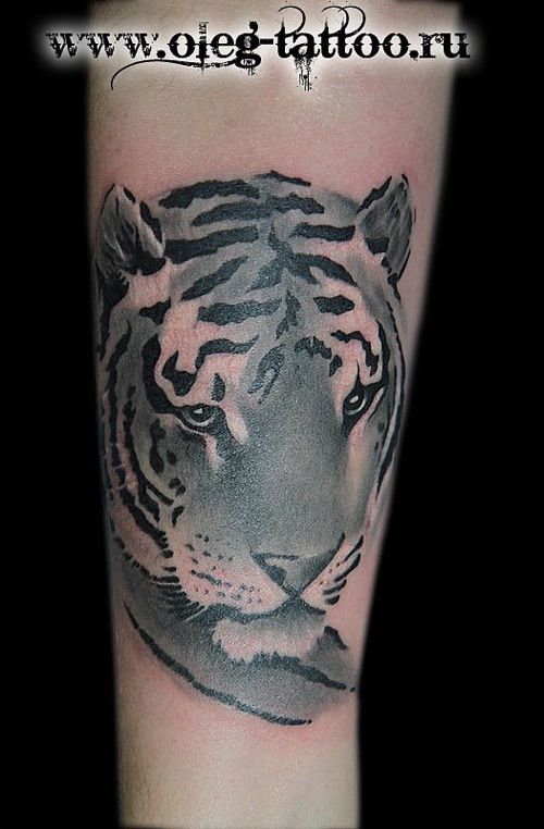 老虎纹身图案; 手臂呆呆的虎头纹身图;
