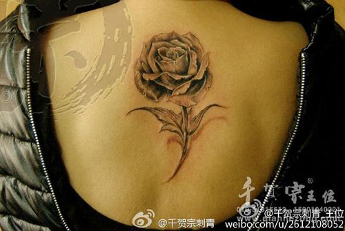 女生后背唯美清晰的黑灰玫瑰花纹身图案